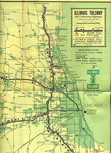 Tollway Illinois Map.Amazon Com Illinois Tollway And Connecting Highways Map July 1960