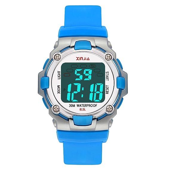 Reloj Digital para Niños,Niños Niñas Impermeable 7 Colores LED Relojes Deportivos Multifuncionales para Exteriores con Alarma