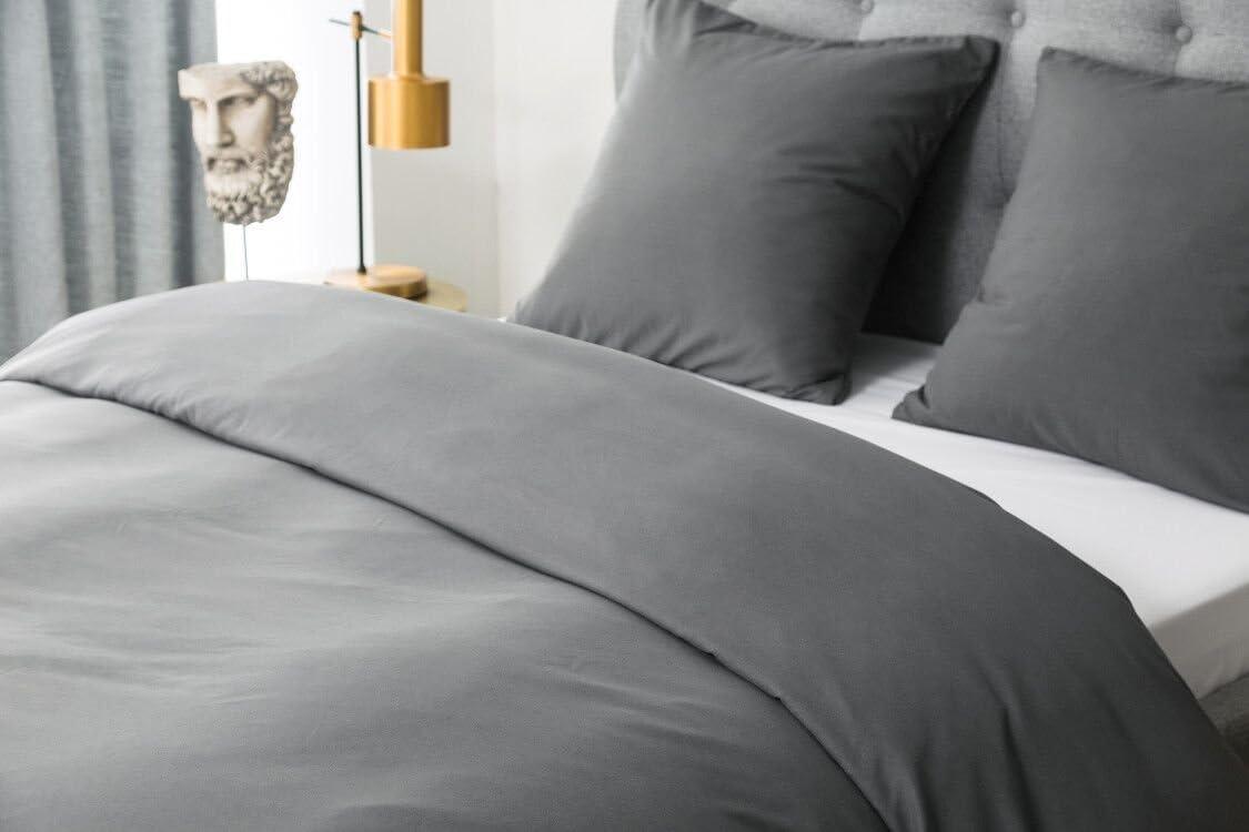 Gris Clair Bicolore Duvet de Haute Qualit/é MOHAP Housse de Couette 140x200cm L/ég/ère Gris Fonc/é