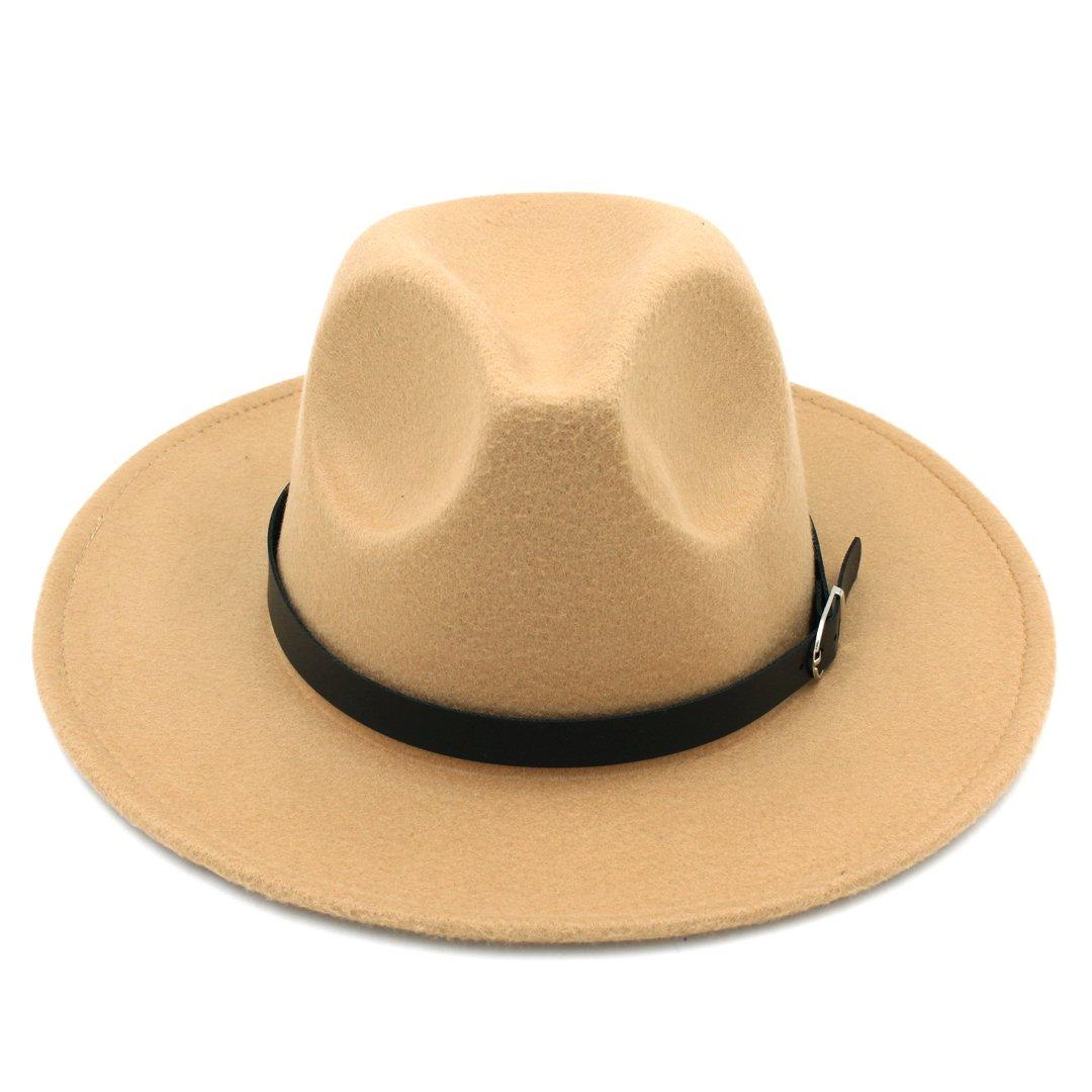 Elee Men Womens Wool Blend Panama Hats Wide Brim Fedora Trilby Caps Belt Buckle Band