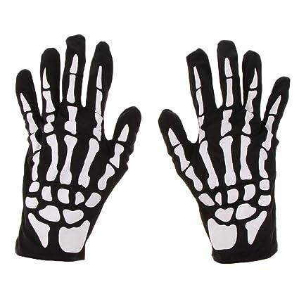 Kawn Halloween Skeleton Gloves Hand Bone Costume Fancy Dress Cosplay Prop Decor