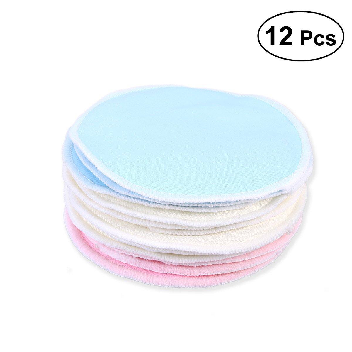 Frcolor 12pcs Bamboo Makeup Remover Pads, Reusable Soft Wash face Pads Skin Care Wash Cloth Pads(3 color)