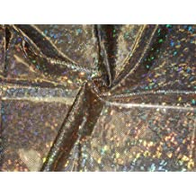 Shattered Glass Hologram 4-Way Stretch Fabric - Gold/Black by Fabric Express