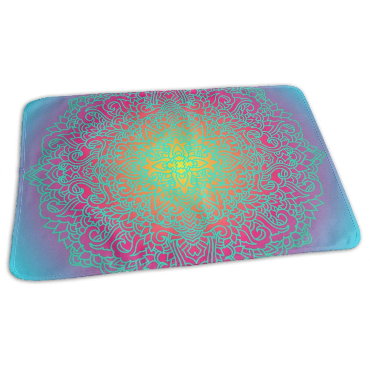 Osvbs Lovely Baby Reusable Waterproof Portable Abstract Mandala Ornament Gradient Background Changing Pad Home Travel 27.5''x19.7'' by Osvbs