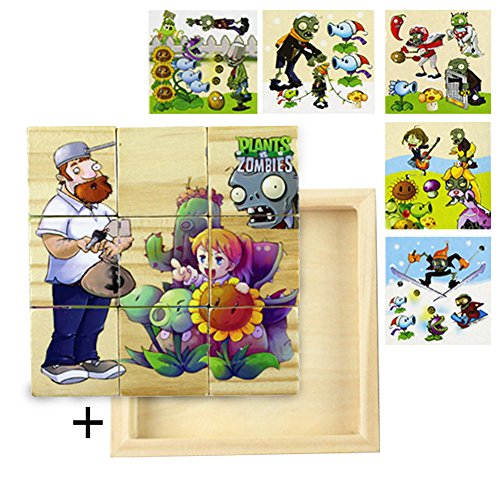 Gouptec Plants vs Zombies Wooden Cube Block Jigsaw Puzzles Six Face Jigsaw Painting Building Three-Dimensional Animal Puzzle Toy (Plants Vs Zombies Kind)