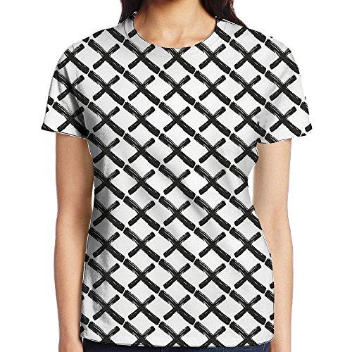 WuLion Math Geometry Inspired Minimalist Design with Brushstrokes Like Print Women's 3D Print T Shirt S White