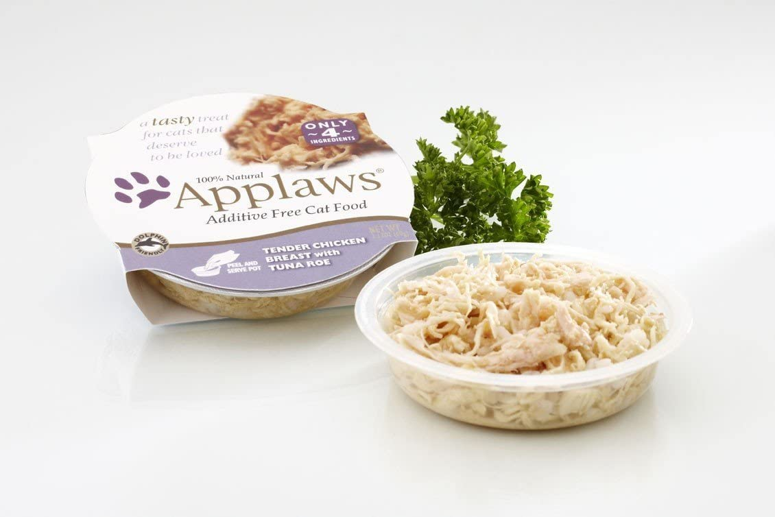 Applaws 7000682 Finest Chicken Breast with Tuna Roe Cat Food, 18 2.12 oz Trays