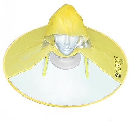 Gosear Paraguas Sombrero de Niños, Transparente Jefe Cap Sombrero Plegable Cubierta de Paraguas la Lluvia
