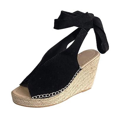 Platform Sandals Espadrille Ankle Strappy Tie Up Womens Comfy Summer Shoes Size