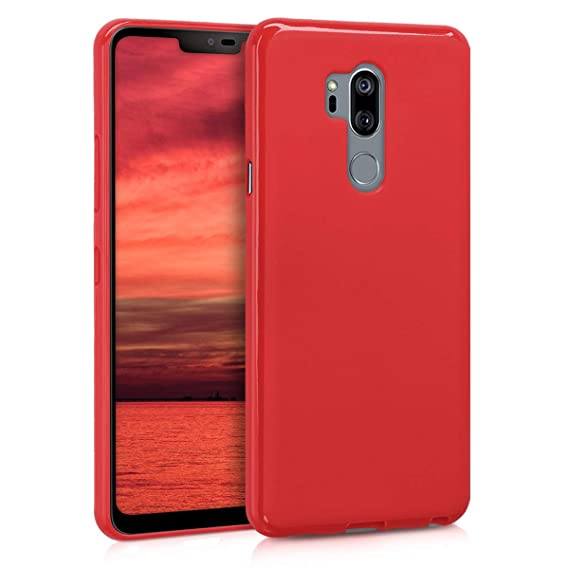 kwmobile TPU Silicone Case for LG G7 ThinQ/Fit/One - Soft Flexible Shock Absorbent Protective Phone Cover - Red Matte