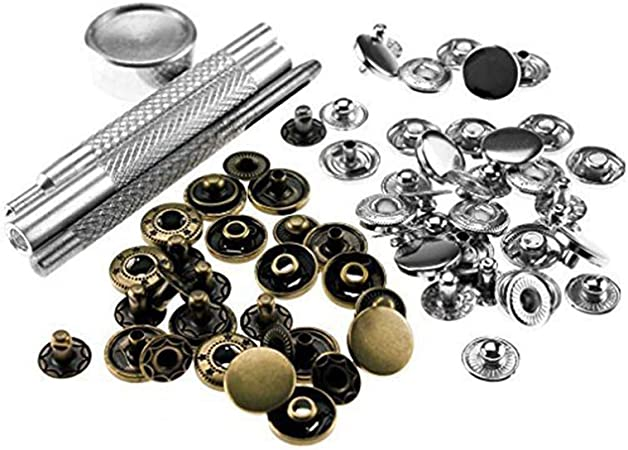 12mm 15mm Fastener Rivet Buttons Craft Snaps Studs Hardware Bags /& Setting tools
