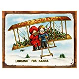 Cheap Wood-Framed Looking for Santa Metal Sign, Holiday, Christmas for kitchen on reclaimed, rustic wood