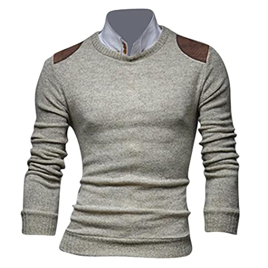 27ca113c64e jeansian Men s Slim Fit Long Sleeves Casual Shirts Pullover Sweater Tops  8895 Beige L