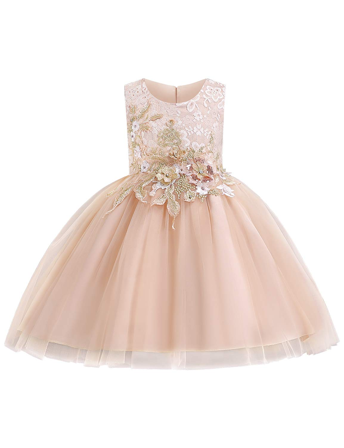 YaYa Bay Flower Girl Dress, Party Wear Special Occasion Wedding Bridal Dresses for Girls Communion Sleeveless 3D Embroidered Elegant Formal Pageant Prom Ball Gowns Champagne Size (130) 4-5 Years