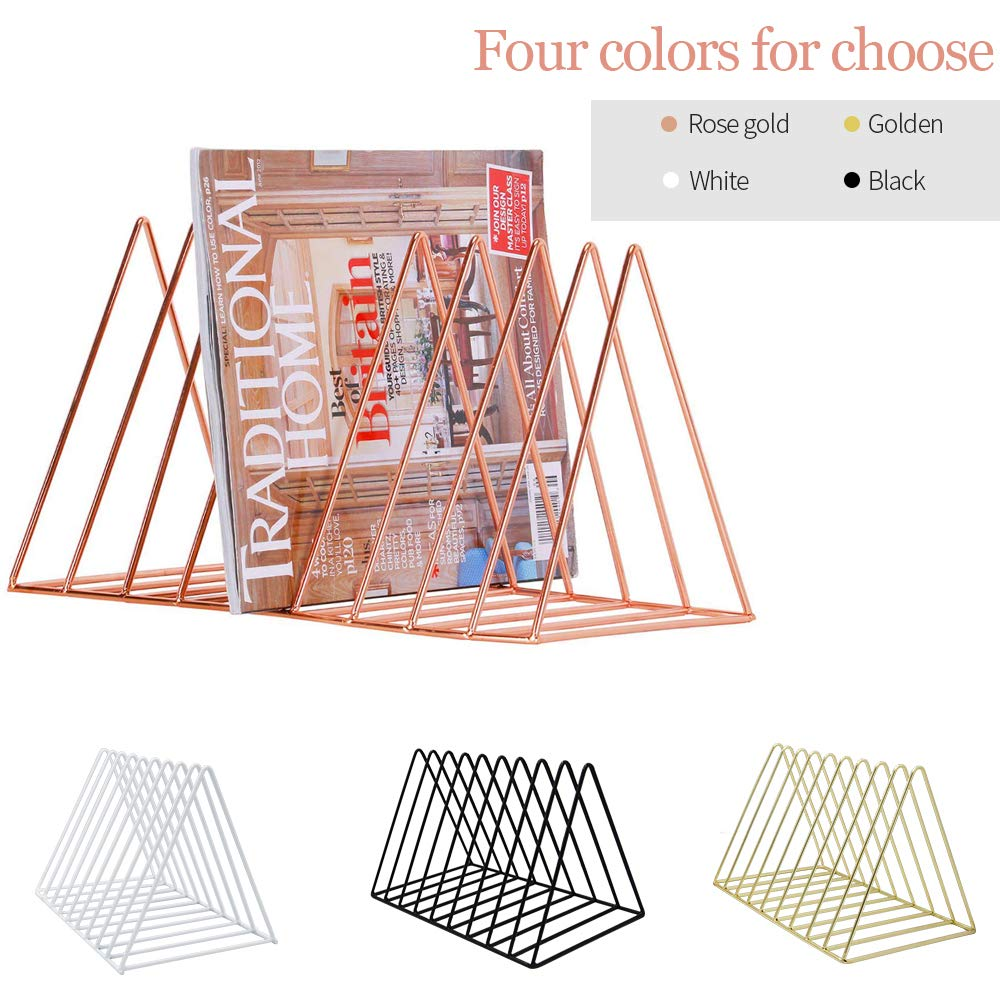 EAHUHO Triangle File Organizer Magazine Holder Newspaper Book Rack Wire Collection 9 Section Desktop Iron Storage Rack Bookshelf Magazine Holder for Office Home Decoration