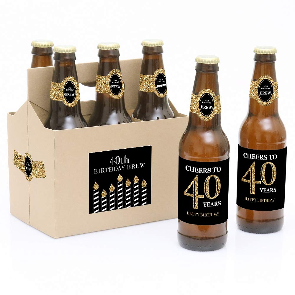 Adult 40th Birthday - Gold - 6 Birthday Party Beer Bottle Labels and 1 Carrier Big Dot of Happiness LLC BT8045btl