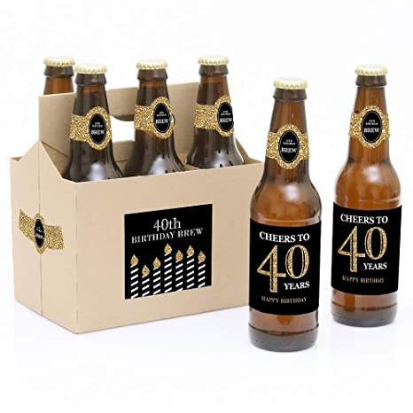 Amazon.com: Botella de 40º cumpleaños – Oro – 6 cerveza ...