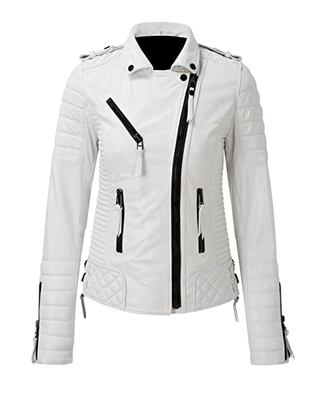 Hollywood Jacket Diamond Quilted Kay Michael White Leather Biker