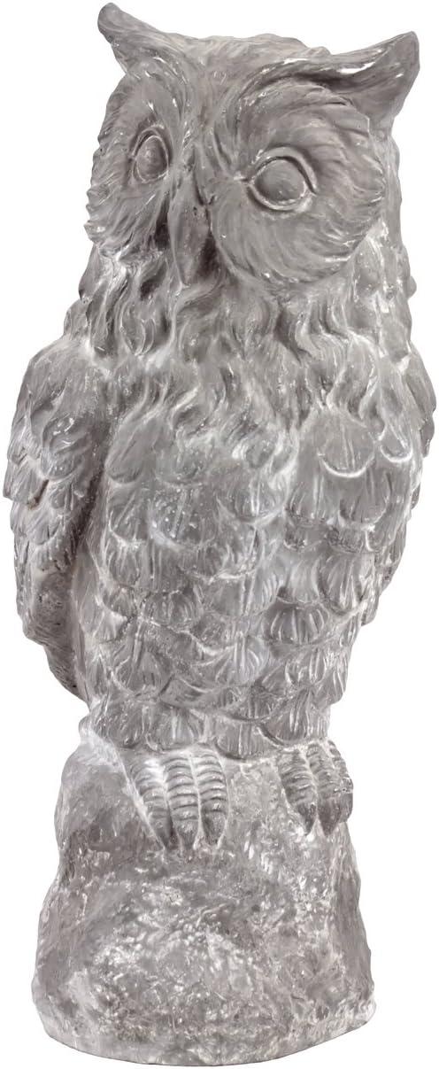Urban Trends Collection UTC30405 Polystone Fiber Stone Owl on Stand Decor, Gray