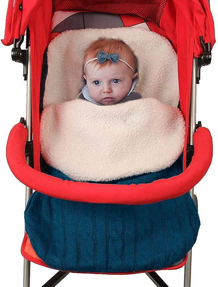Minetom Kinderwagen Baby Schlafsack Stricken Winter Buggy Babyschale Winterfu/ßsack Weich Warmes Pl/üsch Draussen Fu/ßsack Babydecke Footmuff