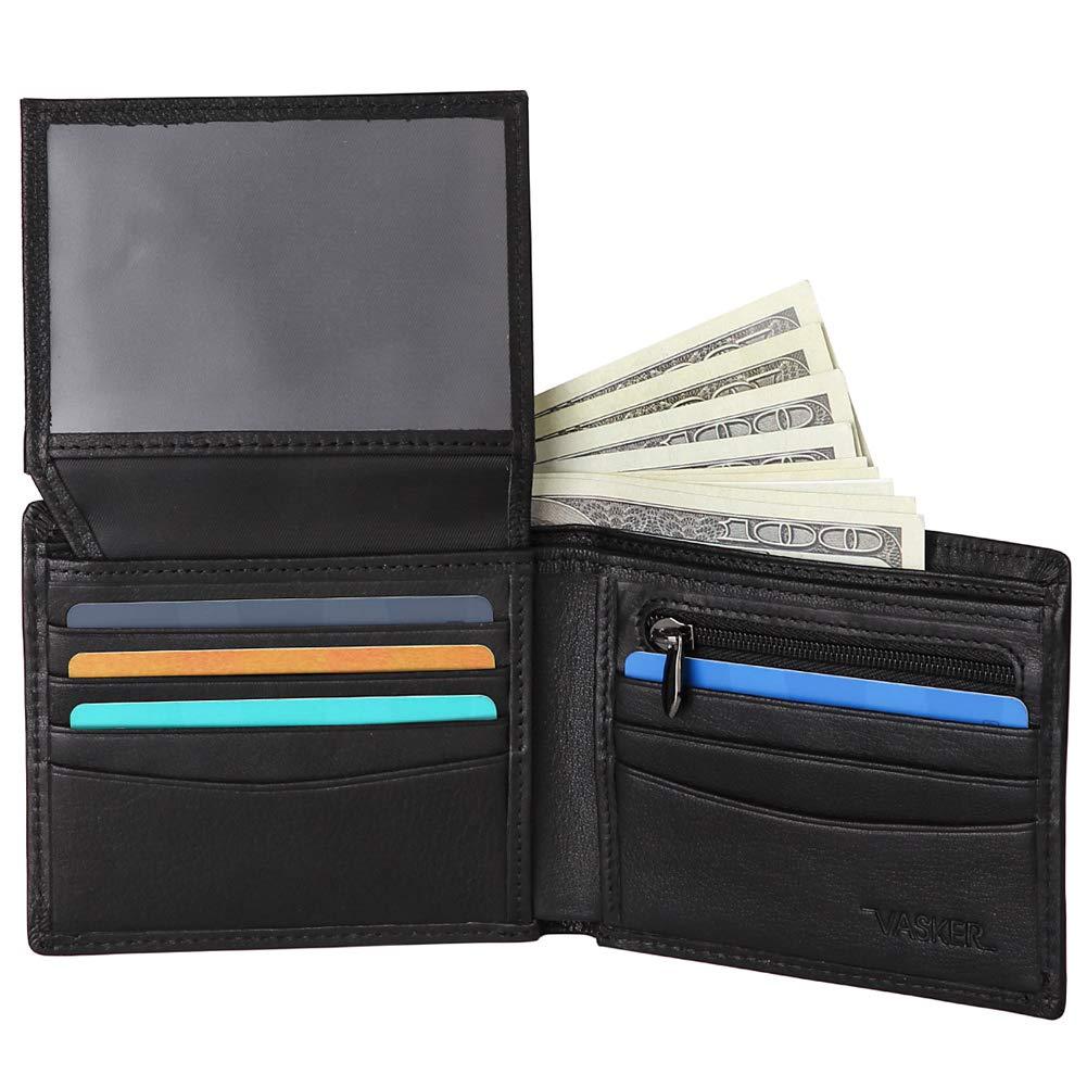 VASKER Genuine Leather RFID Blocking Wallets for Men Bifold with Coin Holder
