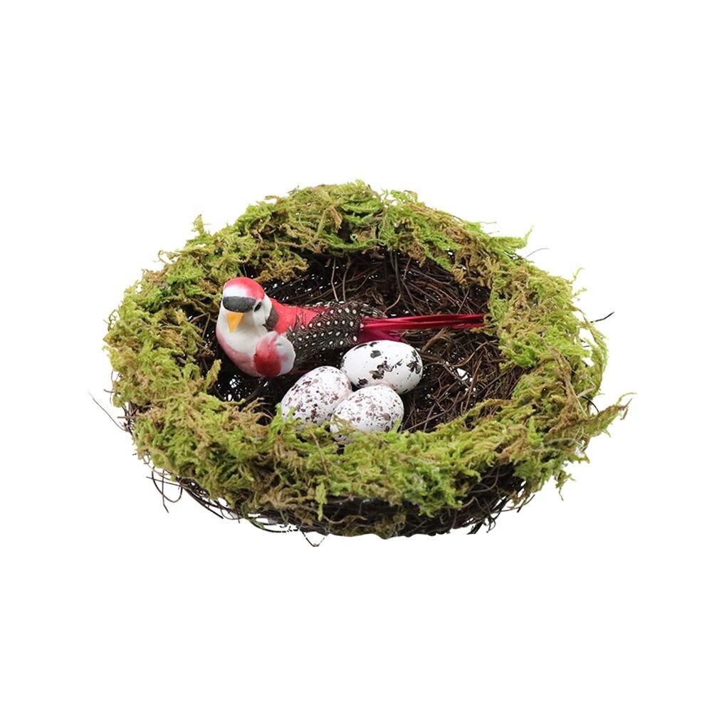 SogYupk Decorations moss nest easter natural vine branch bird artificial egg crafts