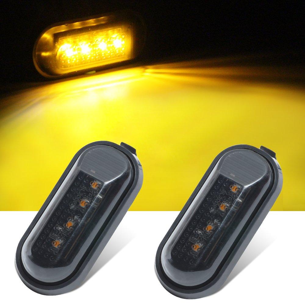 Haichen 2pcs 4Led Flat Side Light Signal Lamps Replacement Fender Smoke Lens 12V 2