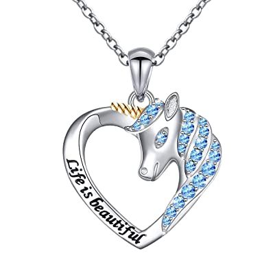 """0ab0e67a4 Sterling Silver Life is Beautiful Unicorn Love Heart Necklace for Women  Daughter Girls, 18"""""""