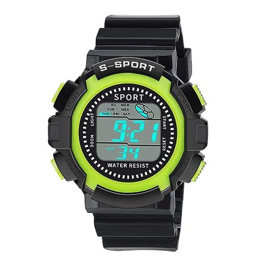 Dylung Reloj para Hombre Deportivo Popular Relojes de Moda con LED Reloj de Pulsera con Cuarzo Japonés Inteligente Digital Correa de Silicona Multifunciónal ...