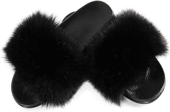 Women's Vegan Faux Fur Slippers Fuzzy