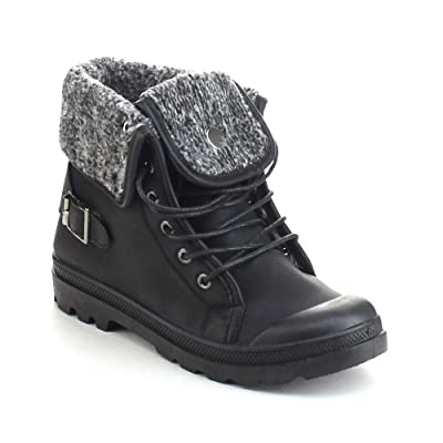 REFRESH Casper-02 Women's Knit Fold Lace Up Buckle Strap Combat Ankle Booties | Ankle & Bootie
