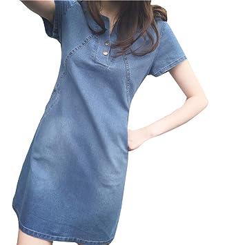 dbf2ceb9699 Women Plus Size Dress - Saihui Sexy V Neck Short Sleeves Evening Korean  Casual Denim A