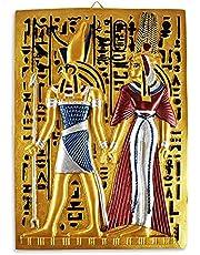 تابلوه حائط بنمط فرعوني وكتابة هيروغليفية لوحات فرعونية من البورسلين المصنوع يدويًا من جولدن توت، تقريبًا. 30x35 سم، متعدد الالوان