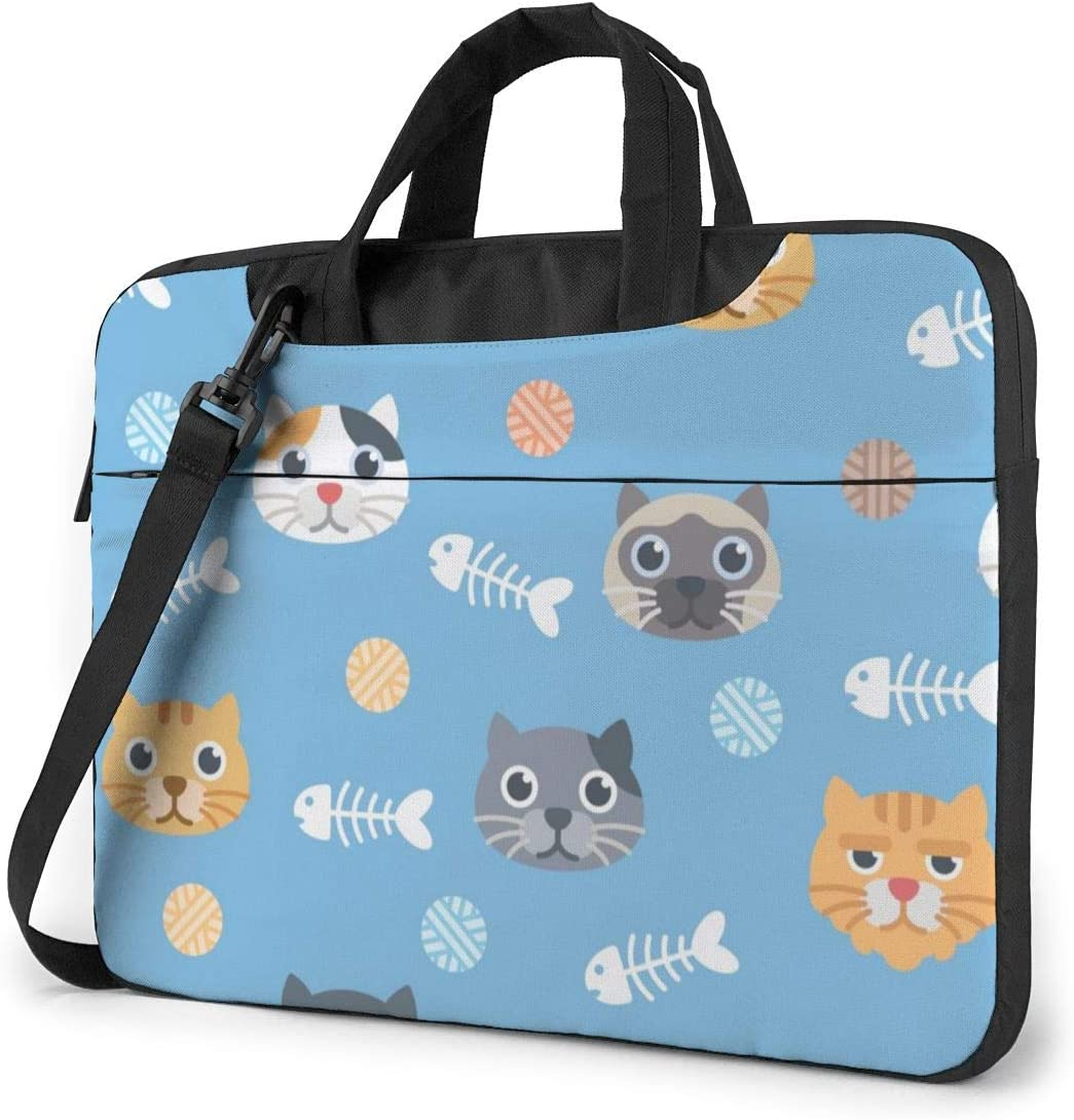 NEPower Laptop Tote Bag Cute Cats and Fishbones Durable Laptop Sleeve Cover with Strap Fits 13-15.6in Laptop for Office