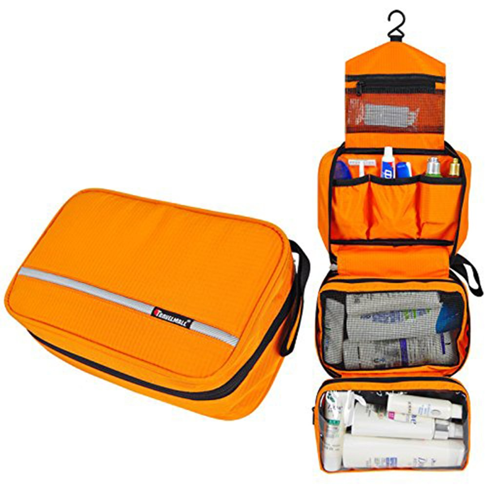 Relavel Cosmetic Pouch Toiletry Bags Travel Business Handbag Waterproof Compact Hanging Personal Care Hygiene Purse (Orange) by Relavel
