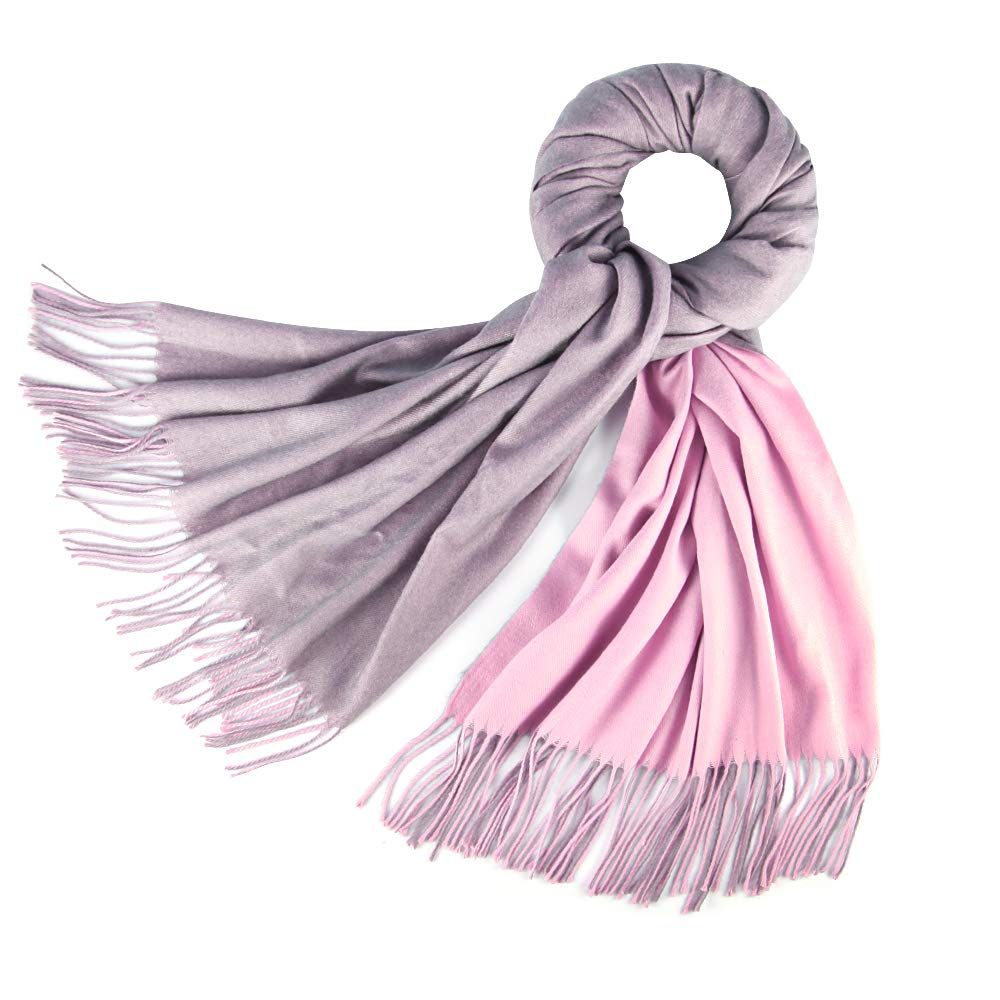 Cashmere Feel Warm 2 Tone Shawl - Oversized 78''x28'' Wrap Scarf (Grey and Pink)