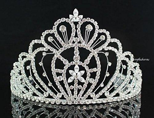 [Queen Austrian Clear Rhinestone Crown Tiara w/ Hair Combs Pageant Prom H469] (Crowns For Queens)