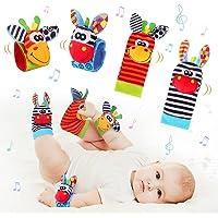 Sonajero Calcetines y Muñequeras para Bebé, Sonajero Toys con Buscador de Muñeca y Pie Juguetes de Animales Suaves y…