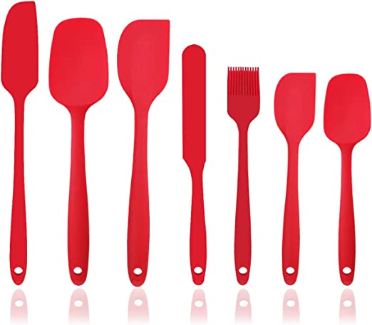 BPA Free and FDA Grade Red Scooping and Mixing Silicone Nonstick Kitchen Spoon Set 2-Piece Heat-Resistant Cooking Spoons Set for Stirring
