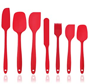 Silicone Spatula Set - 7-Piece Spatulas Silicone Heat Resistant & Non-Stick, for Cooking, Baking and Mixing - BPA Free and FDA Approved With Stainless Steel Core (Red)