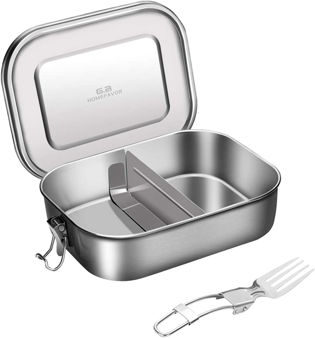 G.a HOMEFAVOR 1400ML Divided Stainless Steel Lunch Food Container with Lock Clips & Fork, 2 Compartments Bento Boxes Lunch Container for Kids or Adults-Dishwasher Safe - Stainless Lid - Leak Proof