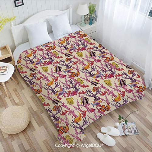 AngelDOU Printed Blanket Soft Quilt Bed Throws W59 xL78 Vintage Inspired Seaweed Coral Algee and Fish Illustration Retro Aquarium Theme Bed Cover Air Condition Blankets.]()