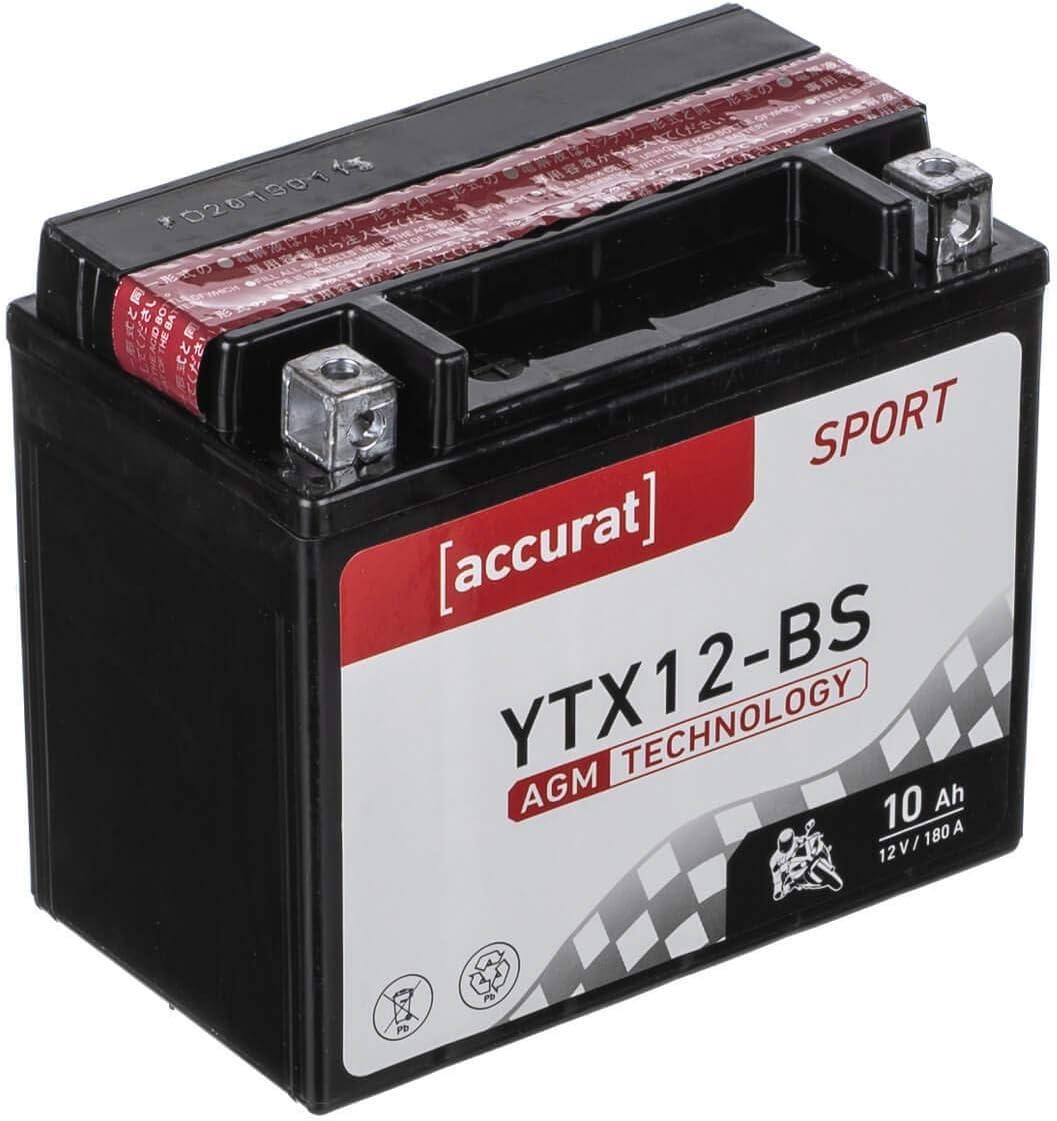 Accurat Motorradbatterie Ytx12 Bs 10ah 180a 12v Agm Starterbatterie In Erstausrüsterqualität Leistungsstark Rüttelfest Abs Geeignet Wartungsfrei Auto