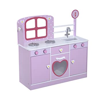 Qaba Country Cottage Kids Wooden Play Kitchen