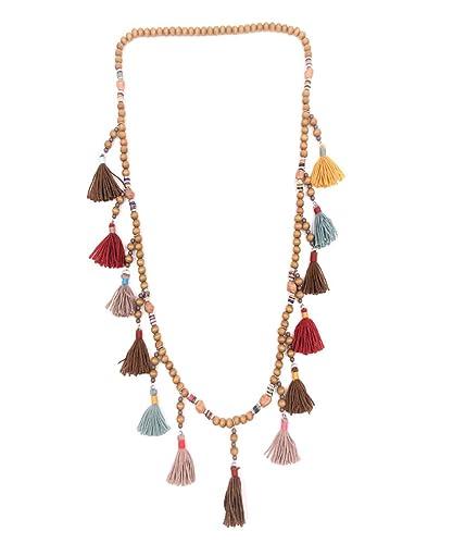 604251722b0 Bellissima bijoux- Bijoux fantaisie- Mode femme- Sautoir pompon perle en  bois (Marron