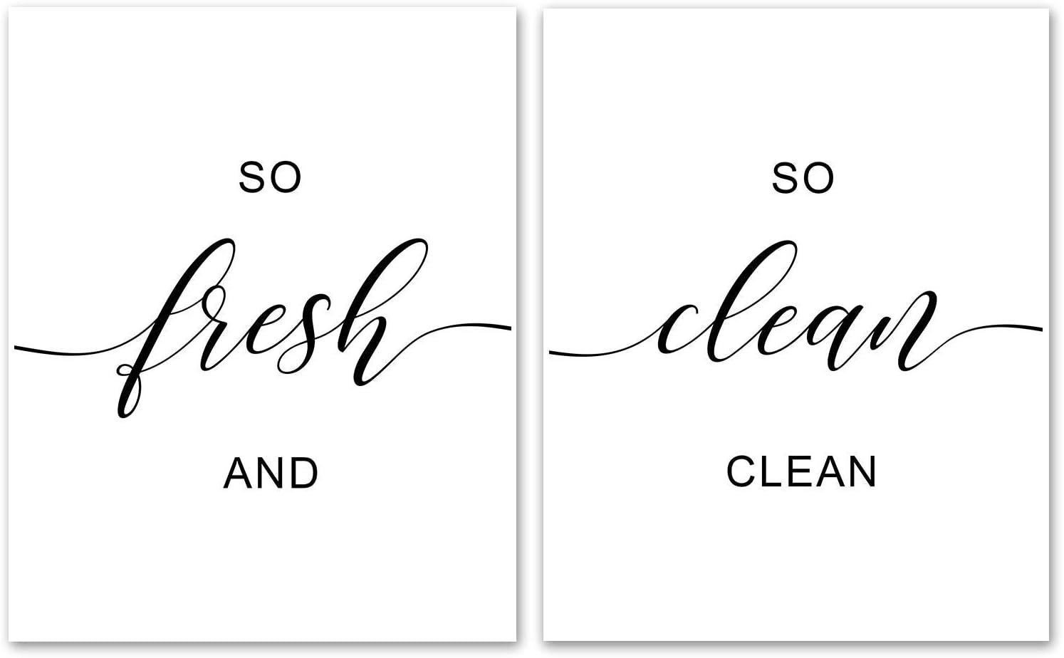 "So Fresh And So Clean Clean Set Of 2 Prints - Unframed, Bathroom Decor, Bathroom Decor, Farmhouse Decor,Scripture Art, Hand Lettering, Kids Shower, Bathroom Sign (o Fresh And So Clean Clean, 8"" x 10"")"