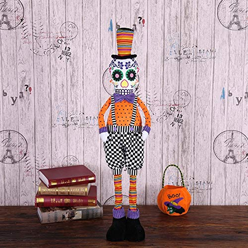 FinGo Halloween squelettes Assis Posture poupées Ornements Tout Le Corps télescopique crâne escamotable Costumes de Performance