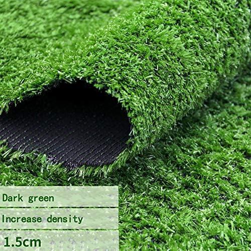 GAPING 人工芝高密度の厚さ人工芝屋内 - 屋外 - バルコニーデコレーションブレードの高さ15 Mm 2色 (Color : Dark green, Size : 2x3m)