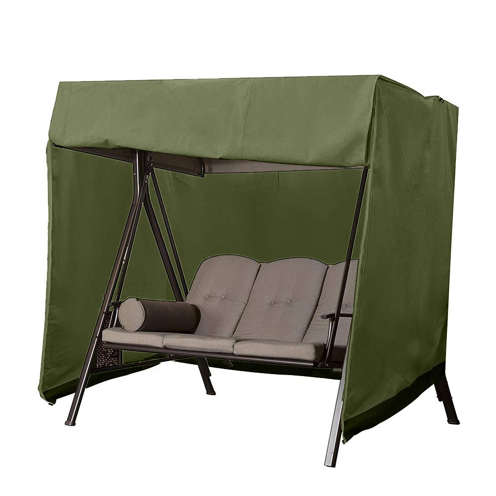 Patio Swing Cover, Porch Swing Cover, Swing Canopy Replacement Cover, 3 Seater Hammock Glider Cover, Patio Furniture Cover,Heavy Duty, Weather Resistant, Big Size87''Lx49''Wx67''H (Army Green)