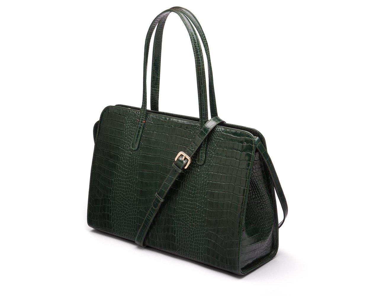 SAGEBROWN Green Croc Ladies Leather Work Bag